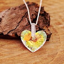 Sterling Sliver Necklace Swarovski Elements Crystal Heart Pendant With Gift Box