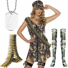 Adult Sexy Womens Army Girl Uniform Soldier Complete Fancy Dress Costume Outfit