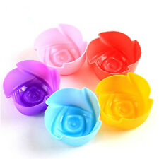 5pcs Chic Silicone Rose Muffin Cup Cake Baking Mold Chocolate Jelly Maker Mould