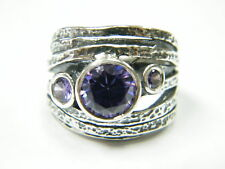 925 Sterling Silver Ring Amethyst CZ Purple Stone Cocktail Style for Women