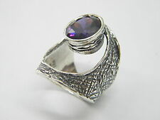 Unique Sterling Silver 925 Ring Amethyst CZ Purple Shablool Women's Ring