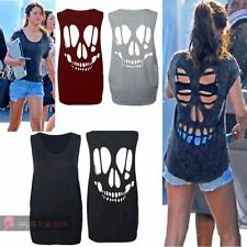 NEW WOMENS ON TREND SLEEVELESS LASER CUT OUT BACK SKULL VEST TOP UK 8-14