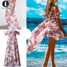 New Boho Women Summer Off Shoulder Strapless Floral Long Maxi Dress Beach Dress