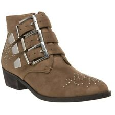 New Womens SOLESISTER Taupe Josie Microfibre Boots Ankle Buckle Zip