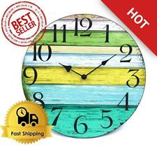 """Vintage Style Wooden Round Wall Clock 12"""" Rustic Country Tuscan Home Decor"""
