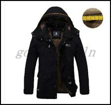 Mens Winter Warm Jacket Parka Hooded Outerwear Fur lined thicken Long Coat M-5XL