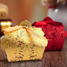 Gold/Red Wedding Favor Ribbon Gift Box Candy Boxes Wedding Party Decor