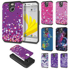 For HTC Bolt / 10 Evo 5.5 inch Mixed Design Fusion Hybrid Hard Rubber Case Cover