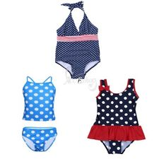 Kids Girls Toddler Polka Dots Strappy/Halter Tankini Swimsuit Swimwear Beachwear