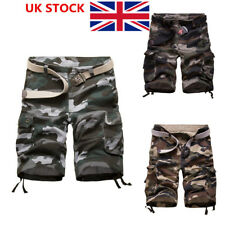 UK Mens Oversize Camo Military Cargo Combat Pants Casual Shorts Outdoor Trousers