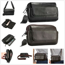 Genuine Leather Fanny Waist Belt Pack Business Mens Small Messenger Shoulder Bag