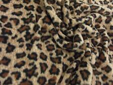 QUALITY Printed Anti Pil Polar Fleece Fabric Material - BROWN LEOPARD