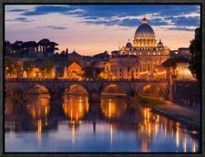 Night View at St. Peters Cathedral, Rome Framed Photographic Print on Canvas