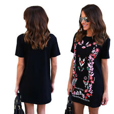 Printed Mini Dress Long Tops Summer Crew Neck Hot Womens Loose T-Shirt