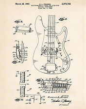 1961 Fender Precision Bass Guitar Patent Wall Art Print Gifts For Bass Players