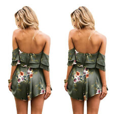 Holiday Playsuit Romper Ladies Womens Jumpsuit Summer Beach Dress Printed shorts