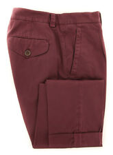 New $595 Brunello Cucinelli Burgundy Red Solid Pants - Extra Slim - (BC83171)