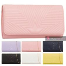 NEW WOMENS STAR QUILTED FAUX LEATHER CHAIN STRAP PARTY CLUTCH BAG PURSE