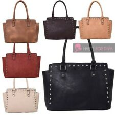 LADIES NEW FAUX LEATHER STUD DECORATION WINGED SHOULDER TOTE BAG