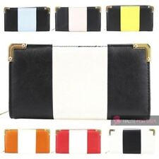 LADIES NEW FAUX LEATHER TWO TONE CARD SLOTS PHOTO WINDOW PURSE WALLET