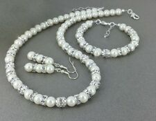 Luxurious White Glass Pearl With Diamante Silver Ball Wedding Necklace Set Gift