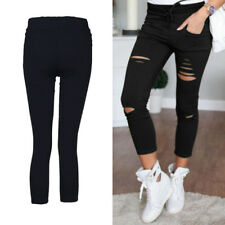 Skinny Leggings Trousers Slim Fit New Womens Stretchy  Faded Ripped Ladies Pants
