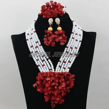 African Crystal Coral Beads Jewelry Set,Statement Women Party Wedding Necklaces