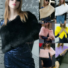 Womens Faux Mink Fur Poncho Knit Wrap Collar Wool Stole Shawl Black Cape Coat