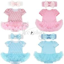 Toddler Infant Baby Girls Polka Dots Tutu Dress Romper Headband Outfit Clothes