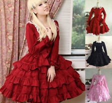 Lolita Princess Cosplay Costume Vintage Gothic Lace Full Dress Long Sleeve Dress