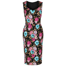 Black Floral Pencil Wiggle Bodycon Glamour Sleeveless 40s Prom Cocktail Dress