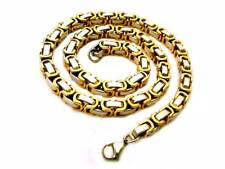 8mm Wide Men Chain Gold Silver Byzantine Box Stainless Steel Necklace DIY Length
