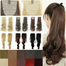 Tie Up Drawstring Ponytail Ribbon Wrap Clip in Hair Extensions Curly Weave AY