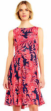Adrianna Papell Paisley Chiffon Fit And Flare Dress With Pleated Skirt Navy