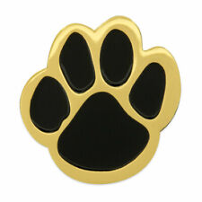 PinMart's Black and Gold Animal Paw Print School Mascot Enamel Lapel Pin