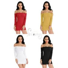 Women Knitted Midi Dress Ladies Off Shoulder Ribbed Knit Bodycon Jumper Dress