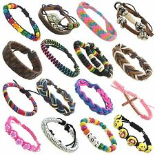 Kids Adults Leather Beaded Colourful Adjustable Friendship Bracelets 60 styles