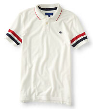 aeropostale mens sleeve stripe piqu polo shirt