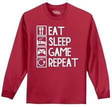 Eat Sleep Game Repeat Funny Long SLV T Shirt Gamer Nerd Geek Gift Graphic Tee Z1