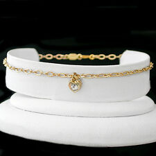 """ALL LENGTHS 9""""-14"""" CRYSTAL HEART CHARM FANCY OPEN link 14K GOLD EP Anklet Chain"""