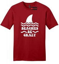Beaches Be Crazy Funny Mens Soft T Shirt Beach Vacation Summer Graphic Tee Z2