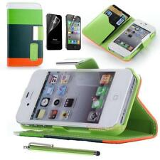 Leather Flip Wallet Case Cover Skin For Apple iPhone 4 4S Free Screen Protector