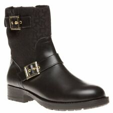 New Womens DKNY Black Naomi Logo Leather Boots Ankle Buckle Zip