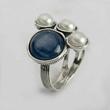 925 Sterling Silver Ring Kyanite Blue Stone Mix stones Style for Women Jewelry