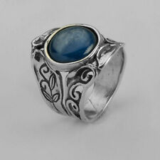 Modern SHABLOOL 925 Sterling Silver Blue natural Kyanite Three-Stone Ring