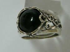 SHABLOOL 925 Sterling Silver Black natural Onyx Cocktail Ring