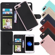 For iPhone 7 6S 6 Plus Case Removable Magnetic Flip Leather Wallet Skin Cover
