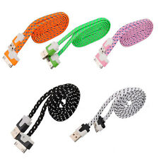 1M Braided Fabric USB Data Sync Charger Cable Cord For iPhone 4 4S iPad2 3