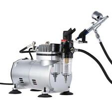 Dual-Action AIRBRUSH AIR COMPRESSOR KIT SET Gravity Feed Craft Cake Hobby Paint