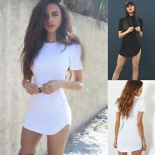 UK Womens Cotton Top T-shirt Ladies Casual Bodycon Party Short Mini Dress Blouse